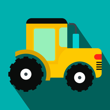cultivator: Yellow tractor flat icon on a blue background