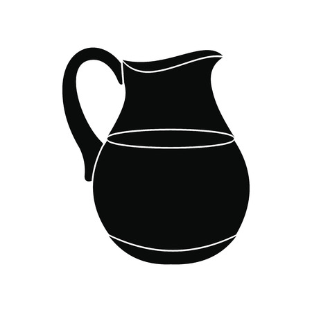 pasteurized: Jug of milk icon. Black simple style