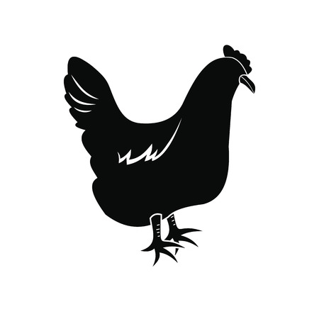 hen  farm: Black hen icon isolated on white background