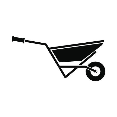 protective glove: Wheelbarrow full of turf icon. Black simple style