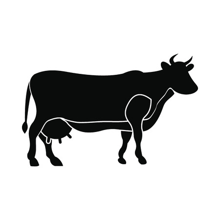 cows: Brown cow icon. Black simple style on white Illustration
