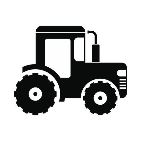 labranza: icono de tractor. estilo simple negro sobre fondo blanco