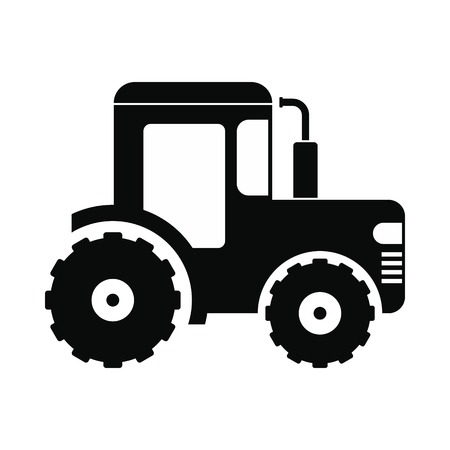 cultivator: Tractor icon. Black simple style on white background