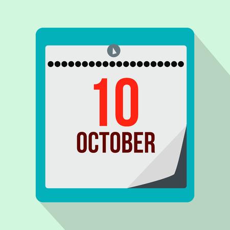 christopher: Columbus day calendar flat icon on a light blue background Illustration