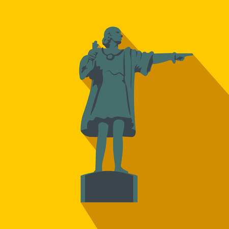 port of spain: Cristobal Colon sculpture in Barcelona flat icon on a yellow background