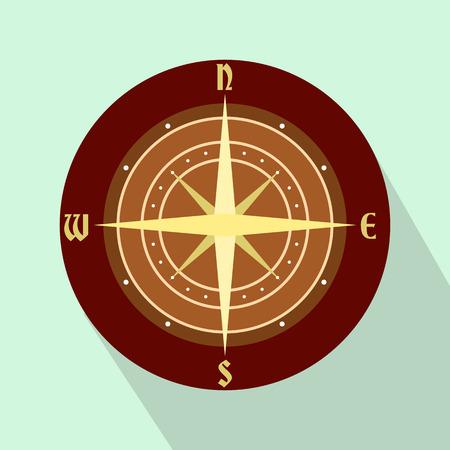 brujula antigua: Un icono plana antigua br�jula sobre un fondo azul claro
