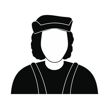 admiral: Christopher Columbus costume icon. Black simple style