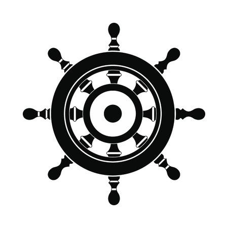 Houten schip wiel icoon. Black eenvoudige stijl Vector Illustratie