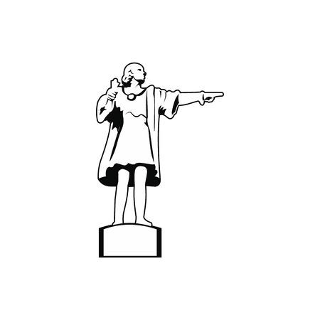 colon: Cristobal Colon sculpture in Barcelona icon. Black simple style Illustration
