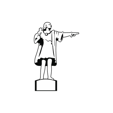 port of spain: Cristobal Colon sculpture in Barcelona icon. Black simple style Illustration