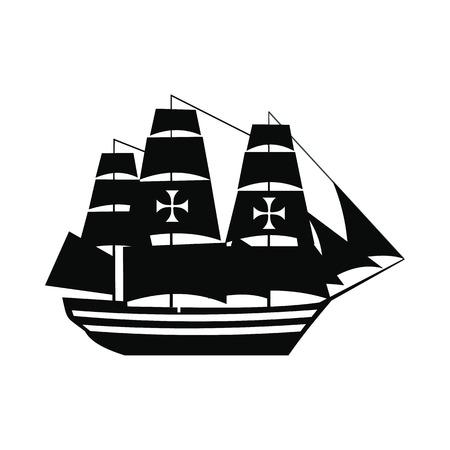 black maria: Columbus ship icon. Black simple style on white