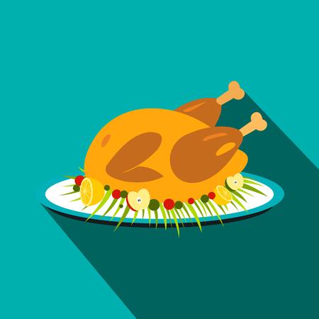 roasted turkey: Roasted turkey flat icon with shadow on the background
