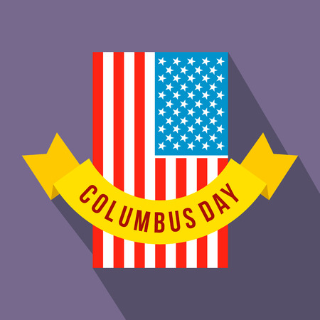 christopher columbus: American flag with Columbus Day ribbon flat icon on a violet background