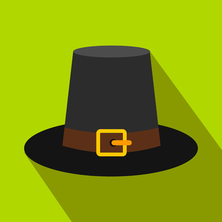william penn: Gorgeous pilgrim hat flat icon with shadow on the background