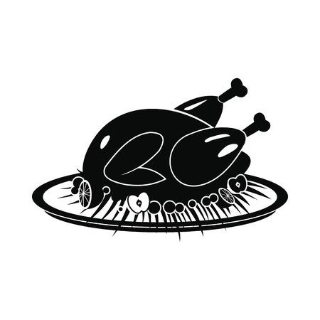 roasted turkey: Roasted turkey icon. Black simple style on white