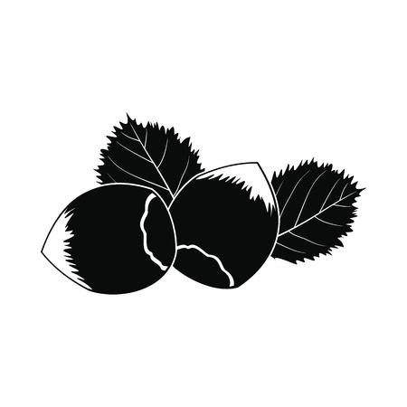 filberts: Hazelnut icon. Black simple style on white
