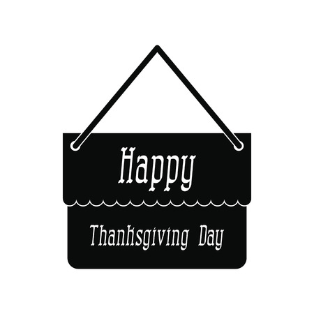 cultivated land: Signboard thanksgiving icon. Black simple style on white Illustration