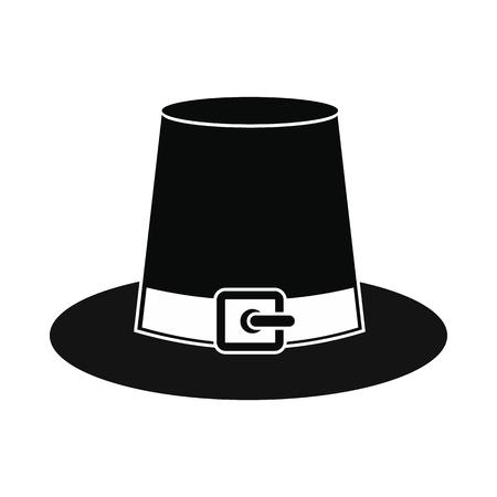william penn: Gorgeous pilgrim hat icon. Black simple style Illustration