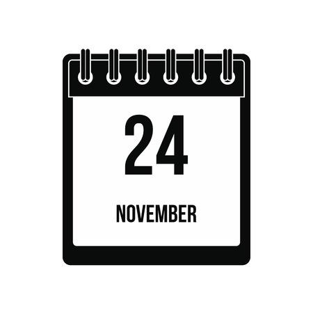 ring stand: Calendar november 24 icon. Black simple style Illustration
