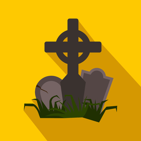 tomb: Tomb flat icon with shadow on yellow background