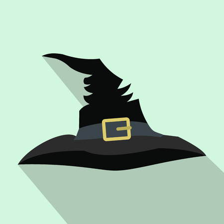 pointy hat: Witch hat flat icon with shadow for web and mobile devices
