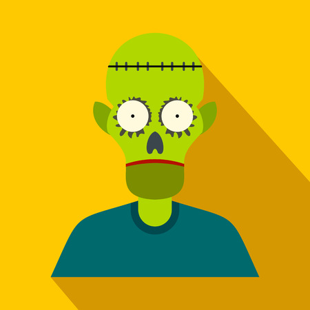 cranial skeleton: Zombie flat icon with shadow for web and mobile devices