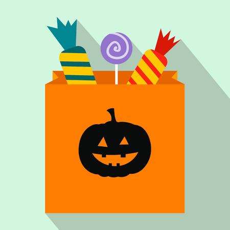 Package of candy on halloween flat icon with shadow for web and mobile devices