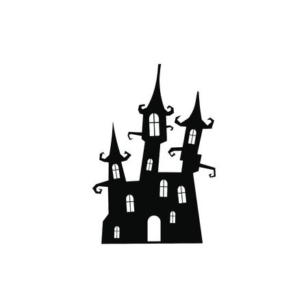 stately: Dream castle icon. Black simple style on white