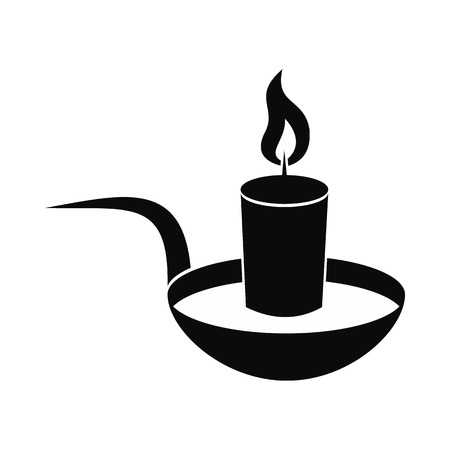all saints day: Candle icon. Black simple style on white