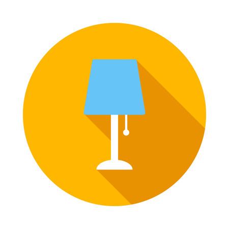 Bleu Lampe de table icône de style à plat sur un fond blanc Vecteurs