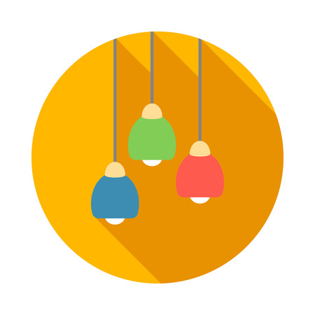 ceiling light: Three color modern ceiling light icon in flat style on a white background