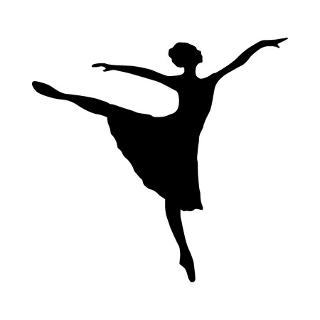 ballerina silhouette: Ballerina silhouette black icon isolated on white background