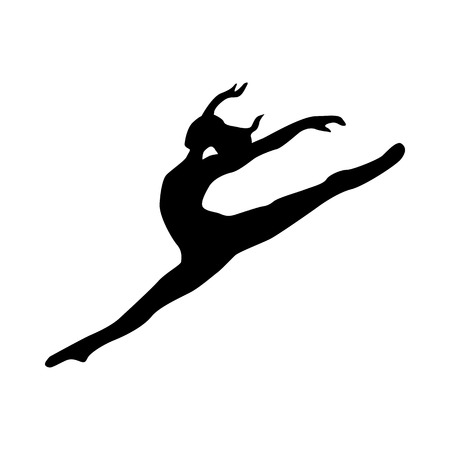 dancing pose: Ballerina silhouette black icon isolated on white background