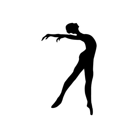 siluettes: Ballerina silhouette black icon isolated on white background