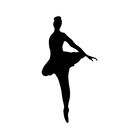 siluettes: Ballerina silhouette black icon isolated on white background