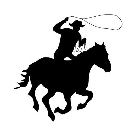 ciclista silueta: Vaquero silueta icono negro aislado en el fondo blanco