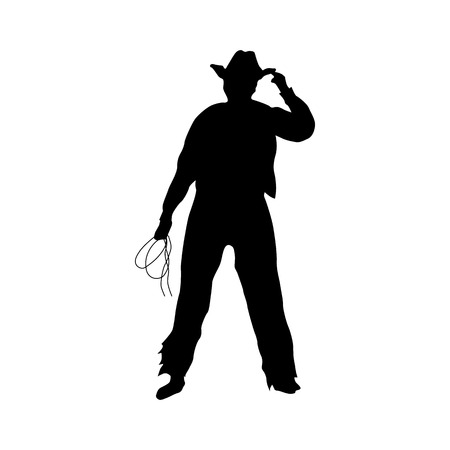 Cowboy silhouette black icon isolated on white background