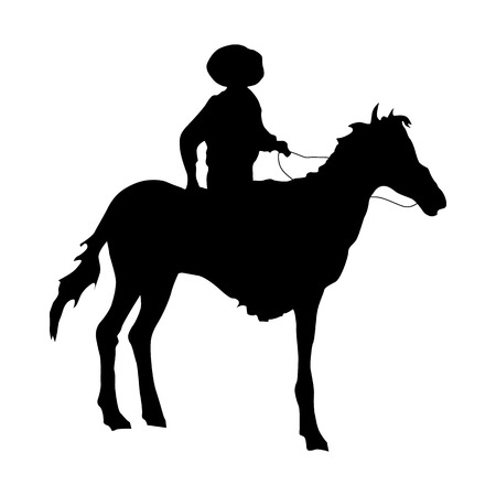 riding boot: Cowboy silhouette black icon isolated on white background