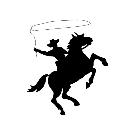 silueta ciclista: Vaquero silueta icono negro aislado en el fondo blanco