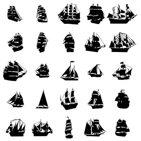 barco pirata: Conjunto de la silueta del velero aislado en el fondo blanco Vectores