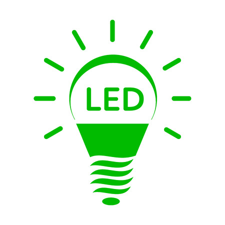 led: Shining LED bulb light icon in simple style on a white background Illustration