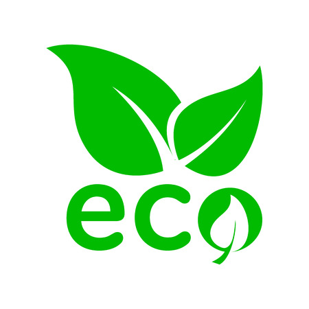 ecology emblem: Leaves eco icon in simple style on a white background
