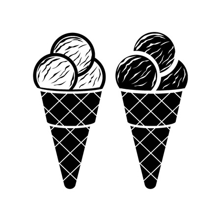 soft serve ice cream: Ice cream in cone icon in simple style on a white background Illustration