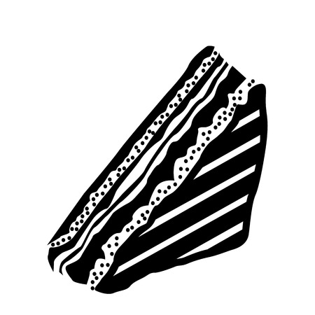 porcion de pastel: Pedazo de pastel en icono de estilo simple sobre un fondo blanco