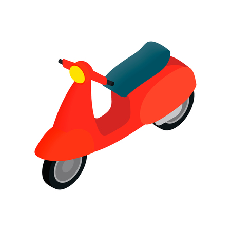 vespa: Classic Vespa scooter icon in isometric 3d style on a white background Illustration