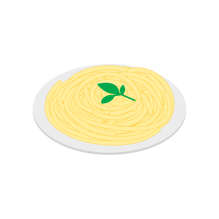 europe closeup: Italian pasta icon in isometric 3d style on a white background