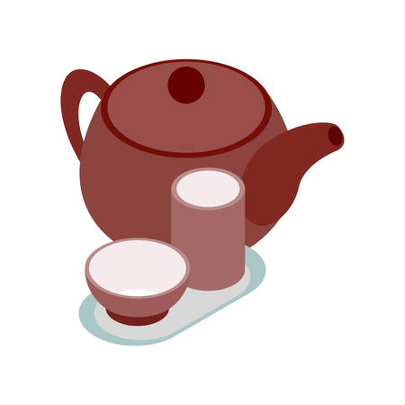 chinese tea pot: Chinese brown teapot and teacups icon in isometric 3d style on a white background Illustration