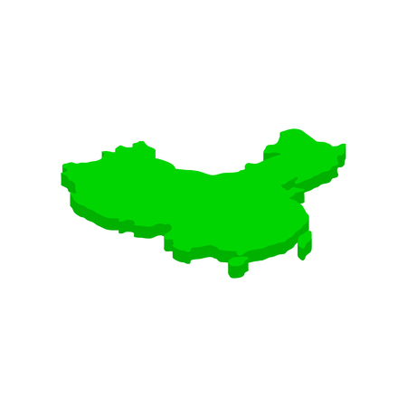 cartographer: Green map of China icon in isometric 3d style on a white background Illustration