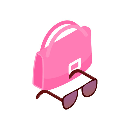 outdoor glamour: Pink Italian bag and black glasses icon in isometric 3d style on a white background