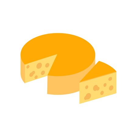 edam: Italian cheese icon in isometric 3d style on a white background